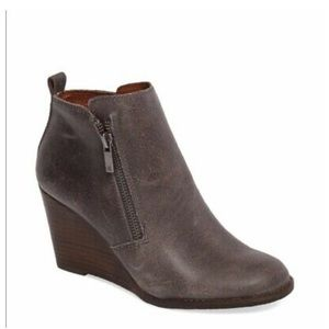 Lucky brand yesterr grey wedge bootie size 6